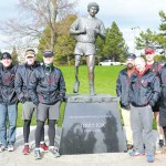 The Wounded Warrior Run B.C. team gathers at the Mile Zero monument in Victoria after running 600 kilometres and raising more than $10,000 for Wounded Warriors Canada.