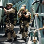 Cpl Michael Bastien, MARPAC Imaging Services The naval boarding party of HMCS Regina conducts tactical movement drill practice on the ship's upper deck off the coast of Africa on earlier this year during Operation Artemis.