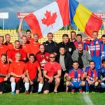 The members of the Canadian ATF Romania and the Romanian AF before playing a friendly soccer match on July 11, 2014 in Turda, Romania.