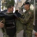 Reporter tries on EOD suit